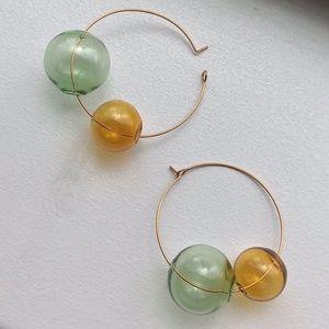 Glass Bubble Hoop Earrings